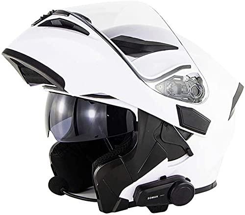 Cascos De Motocicleta Abatibles, Casco De Motocicleta Bluetooth Certificación DOT/ECE Comunicación De Motocicleta Para 6 Personas Casco De Vibración Bluetooth FM Función De Walkie Talkie A,L