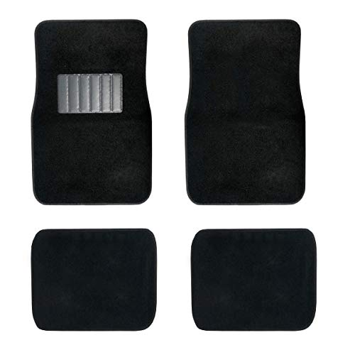 New Carpet Car Floor Mats 4 Pc Set for Cars Trucks SUVS with Heel Pad -Front and Rear Mats Universal Classic Matching Heel Pad (Black)