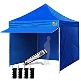 Eurmax 10 x 10 Pop up Canopy Pergolas Tent Outdoor Party Canopies with 4 Removable Zippered Sidewalls and Roller Bag Bonus 4 Canopy Sand Bags & 24 Squre Ft Extended Awning(Blue)