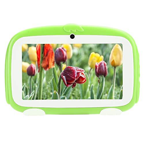 Dpofirs 1GB+16GB 7 Pulgadas HD Pantalla TFT Capacitiva Tableta de Estudio, Tableta PC Multifuncional para Andriod 9.0 con Carcasa para Niños, Admite Internet 3G WiFi, Regalo para Niños(Verde)
