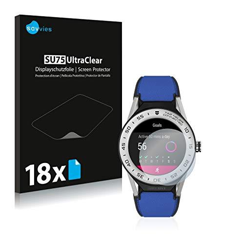 Savvies 18x Schutzfolie kompatibel mit Tag Heuer Connected Modular 41 Bildschirmschutz-Folie Ultra-transparent