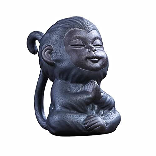 WJCCY Pequeño té Mono Adornos Mascotas Retro Puede ser Elevado cerámico Mono té Arte pequeño Adornos