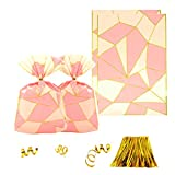 Clear Plastic Cellophane Treat Bags - Pink and Gold Party Favors Cello Bags 1st Birthday Baby Shower Wedding Bachelorette Party Cookie Candy Treat Favors Bags, 100pc