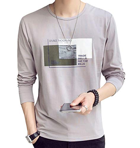JHIJSC Tシャツ メンズ 長袖 無地 綿 ゆったり 薄手 おしゃれ おおきいサイズ (グレー, XXL)