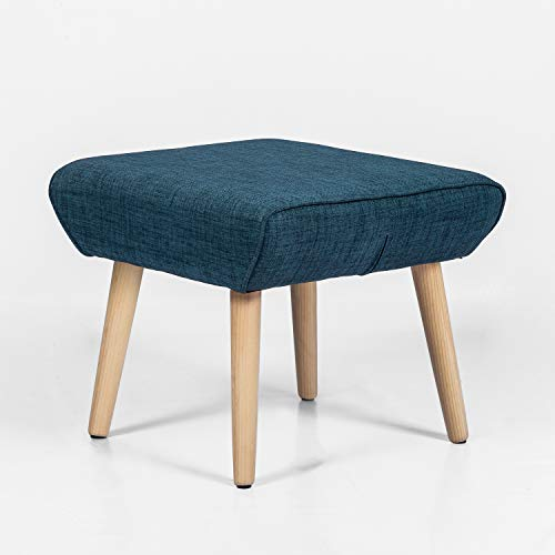 Adeco Modern Simple Nordic Fabric Ottoman Seat Stool, 21x18x17, Deep Blue