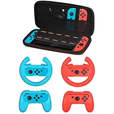 Accessories Kit for Nintendo Switch Games Starter, 2X Steering Wheel, 2X Grip Kit, 1x Travel Carry Case(5 in 1 Red/Blue)