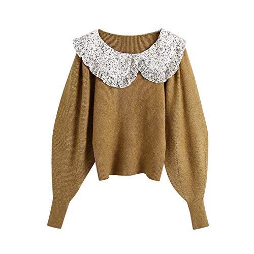 Mdjywl Frauen Süße Mode Patchwork Kräuselte Gestrickte Pullover Vintage Peter Pan...