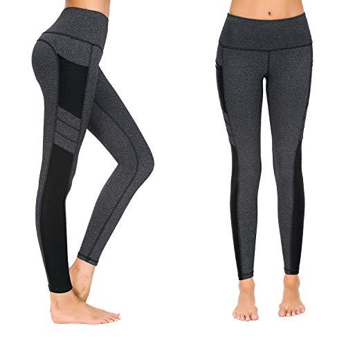 Munvot Damen Sporthose Sport leggings Tights, Dunkel Grau, L (DE40-42)