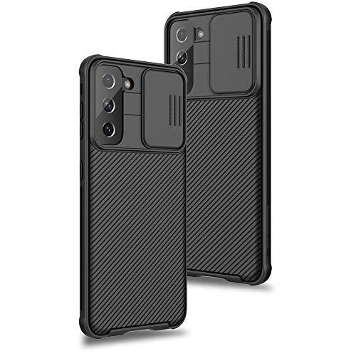XTCASE für Samsung Galaxy S21 Hülle, Ultra Dünn Handyhülle mit Kameraschutz - Kamera Schutz mit Schieber, Premium Hybrid PC + TPU rutschfest Stoßfest Kratzfest - Schwarz