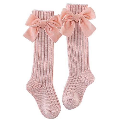 ORETG45 Calcetines llanos hasta la rodilla, calcetines de algodón con volantes para niños, cálidos, para invierno, para la escuela, vestido de princesa con lazo, para 0 a 8 años