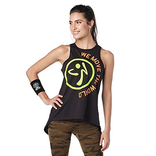 Zumba Dance Fitness Open Back Workout Tank Tops For Women Tanktops, Black Move, Medium Womens