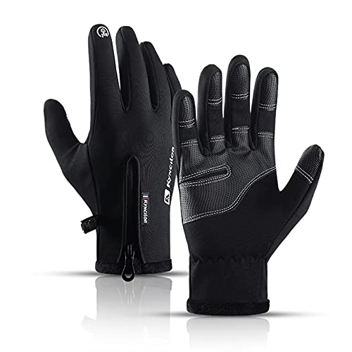 MingLaken Touchscreen Handschuhe für Damen und Herren - Warme Thermo Sporthandschuhe Laufhandschuhe Winddichte Winterhandschuhe Fahrradhandschuhe - Anti-Rutsch Full Finger Fahren Radfahren (Schwarz,L)