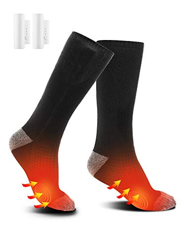 EJOY Heated Socks for Men and Women Upgraded Rechargeable Electric Heating Socks with 3 Heat Settings, Keep Warm for Cold Winter