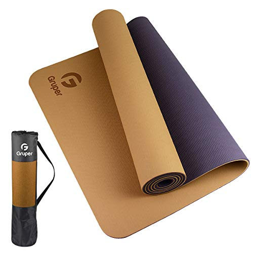 Gruper TPE Yoga Mat ,Pro Yoga Mat Eco Friendly Non Slip Fitness Exercise Mat with Carrying Strap,Workout Mat for Yoga, Pilates and Floor Exercises (Champagne Gold + Brown, Thickness-6mm(1/4 inch))