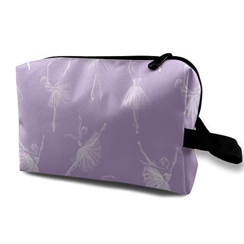 Ballerine Drawing (viola) _314 beauty case portatile per cosmetici, trousse da viaggio, organizer da appendere, per donne e ragazze, 25,4 x 12,7 x 15,9 cm