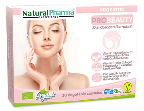 NaturalPharma ProBeauty Probiotic. Care for The Skin. Vitamin C + Vitamin B6 + Zinc. Smart BioCaps Capsules. Organic Certification (Gluten & Lactose Free, Vegan).