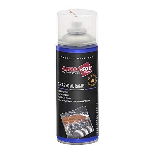 Ambro-Sol - G006 Grasso Spray al Rame, Lubrificante Specifico per Alte Temperature, Bomboletta Spray in Banda Stagnata 100% Riciclabile all'Infinito da 400 ml