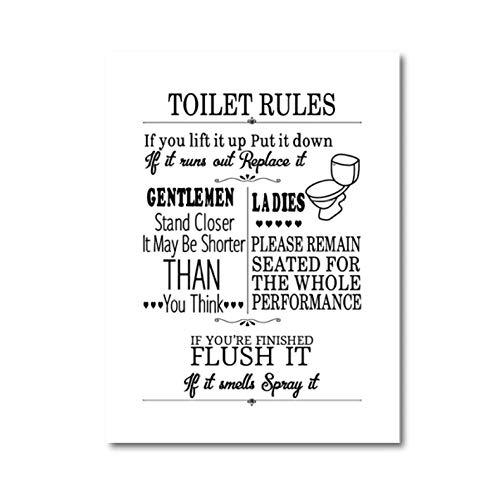 WC-poster voor wand, wand, canvas, modern, grappig, voor badkamer, liniaal, tekenen, bedrukt, toilet, afbeelding, badkamer, decoratie, 30 x 40 cm x 1 zonder lijst