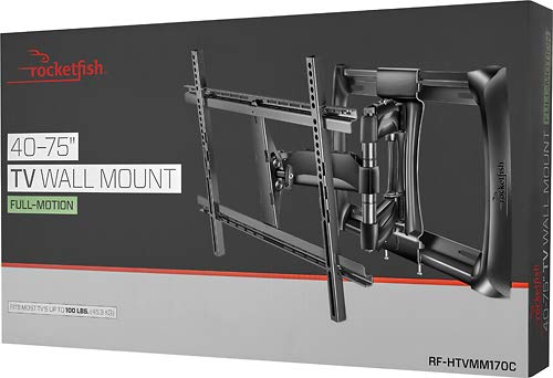 """Rocketfish - Full-Motion TV Wall Mount for Most 40"""" - 75"""" TVs (RF-HTVMM170C) Black - New, Non-Retail Packaging"""