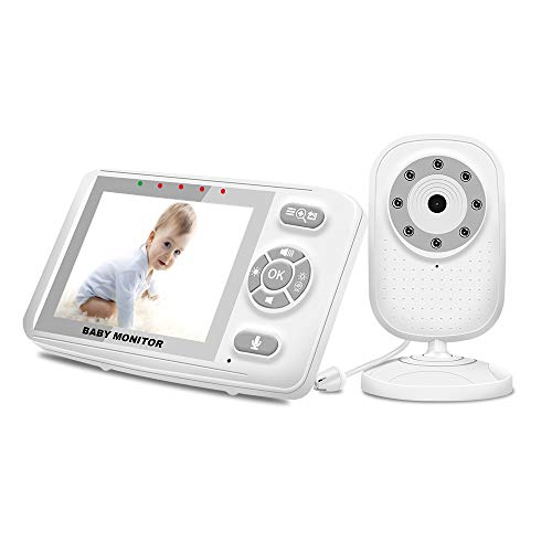 Video Monitor, Baby Monitor with Camera and Audio, 3.5 Inch Color Display, Night Vision, Sound Activated, Manual Pan/Tilt, 2X Zoom, Feeding Alarm, Temperature Sensor and Lullaby Player