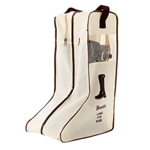 Luccase Stiefel Tasche Reißverschlüsse Geschlossen Hohe Stiefel Lagerschutz Tasche Boot Cover Stiefel Staubdicht Lagerung Tragbare Stiefelstaubbeutel (Beige, L)
