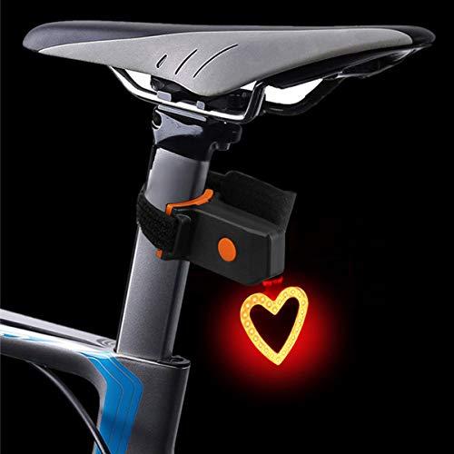 Maso Luces traseras de bicicleta USB recargable Ciclismo bicicleta cola advertencia luz trasera seguridad 5 modos impermeable en forma de corazón
