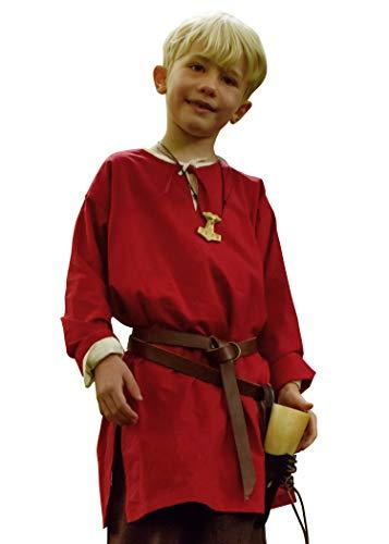 Battle-Merchant Mittelalter Kinder Tunika Arn - Unisex - Baumwolle - Mittelalterkleidung - Wikinger - Pirat - Ritter - Kostüm - Karneval - Fasching - LARP, rot, Gr. 128