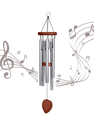 """Afirst Wind Chimes Outdoor 22"""" Silver Chime with S Hook Amazing Grace Wind Chime,A Beautiful Gift for Your Garden, Patio,Porch and Home Decoration"""