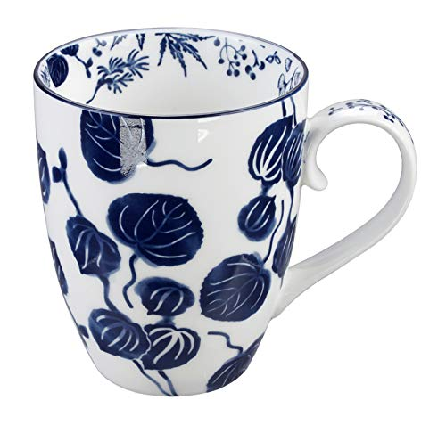 TOKYO design studio Blau/Weißer Becher Efeu – Flora Japonica – 8,5 x 10,2 cm 380 ml