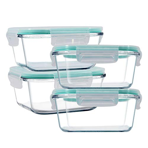 YEBODA Glass Food Storage Containers with Airtight Snap Locking Lids BPA Free Meal Prep Container Set For Home Kitchen Restaurant - Freezer, Microwave, Oven, Dishwasher Safe [28oz, 4 Pack]