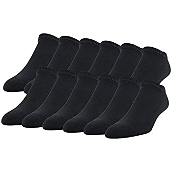 Gildan Men s Stretch Cotton Half Cushion No Show Socks 12-Pack Black Shoe Size  6-12