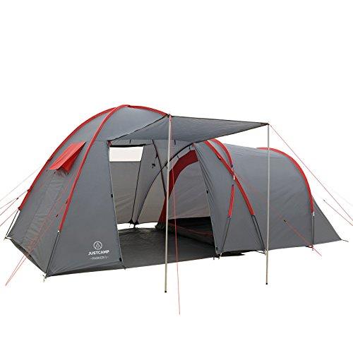JUSTCAMP Campingzelt Parker 3 Zelt mit Stehhöhe, Großer Vorraum, Kuppelzelt, 3 Personen - grau, Großer Stauraum