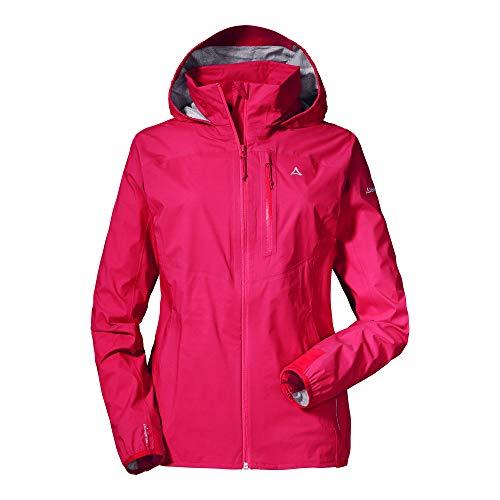 Schöffel wind- und wasserdichte Damen Jacke mit Pack-Away-Tasche, superleichte und flexible Regenjacke, 12895, hibiscus, 38