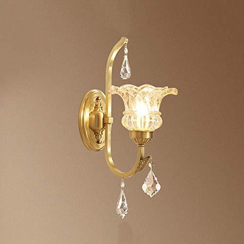 WZXCAP badkamerniveau gang kinderkamer eenvoudige iluminaties koper glas kristal wandlamp goud brons sfeerlampen E14 restaurant The Living Room wandverlichting wandlamp wandlamp Europese stijl