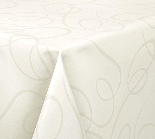 WACHSTUCH Tischdecken abwischbar Meterware, Glatt Lines, Champagner Beige, 200 x 140 cm, Größe wählbar