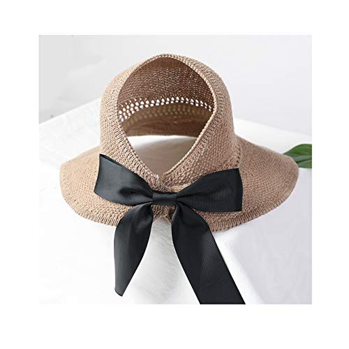 LORIEL 2 PCS Vaciar Top Sol Hat, Bowknot, Velcro Design Big Brim Sombrero, Sombreros de Visera Solar Plegables,Beige