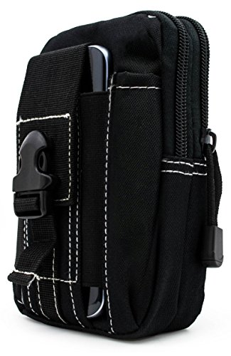 Bastex Universal Multipurpose Tactical Cover Smartphone Black Holster EDC Security Pack Carry Case Pouch Belt Waist Bag Gadget Money Pocket for iPhone 6s Samsung Galaxy S7 Note5 LG G5 iPhone 7