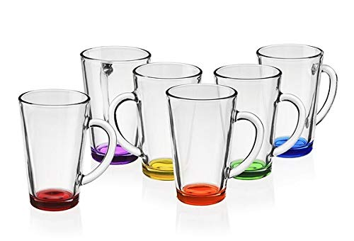 Bunte Kaffeegläser Teegläser mit Griff 360ml Set 6 Teilig Mehrfarbig Trinkglas Groß aus Glas