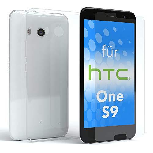 EAZY CASE Silikonhülle und Panzerglas im Set für HTC One S9 I Bildschirmschutzglas, Panzerglas nur 0,3 mm 9H Härte, Schutzhülle Ultra dünn, Silikon Hülle, Backcover, Transparent/Kristallklar