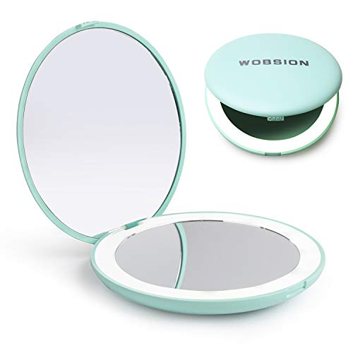 cheap Wobtion Travel Makeup Mirror with LED Light, Compact 1x / 10x Magnifier, Portable …
