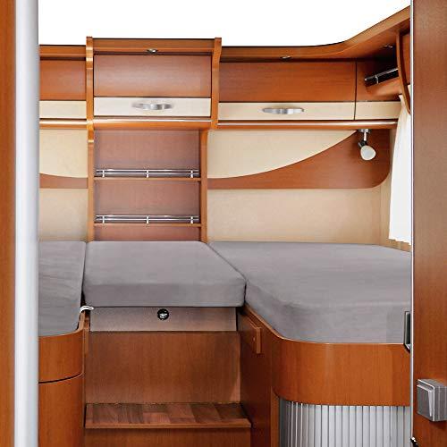 Erwin Müller Spannbettlaken 3er-Set für Wohnmobil oder Wohnwagen - Heckbett - Single-Jersey - Platin - Größe 80x200 cm (2X) + 45x135 cm
