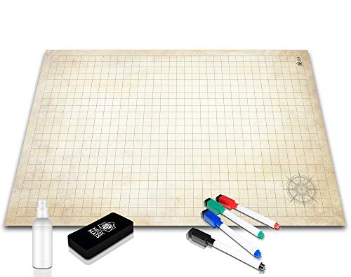 Battle Grid Game Mat - Ultra Durable Polymer Material - Role-Playing Grid Map - Reusable Tabletop Squares - Dungeons RPG Dragons Dry Erase Vinyl - Perfect Set for Starters and Masters - 24 x 36