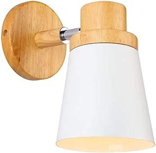 E27 Moderne Applique Murale Metal et Bois Lampe de Mur Blanc Murale Applique Vintage Suspensions Luminaire pour Chambre Sa...