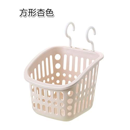 AAPP SHOP Gratis ponsen opknoping mand badkamer stapelbare badkamer opslag rack opbergmand plastic wasmand vierkant grijs wit
