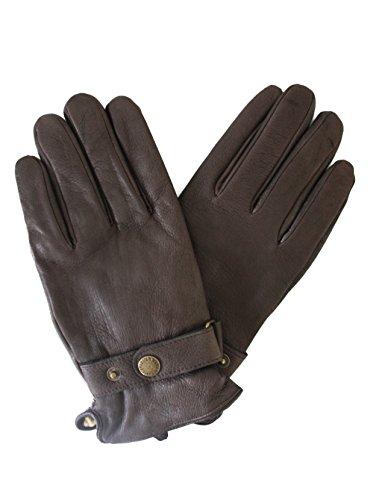 Lederhandschuhe aus reinem Hirschleder im klassischen Schnitt, Mit Druckknopf am Handgelenk, Fleecefutter
