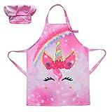 NAMIS 1 set Grembiuli per Bambini Unicorno Grembiule e Cappello da Chef per Bambini Regolabile Grembiuli da Cucina per Bambini per Bambini e Ragazze Cucinare da Cucina, Pittura, Giardinaggio