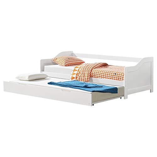 [en.casa] Tandembett 2X 90x200cm Weiß Ausziehbett Doppelt Sofabett mit Lattenrost Funktionsbett Kiefernholz Schlafsofa Gästebett Kojenbett Tagesbett