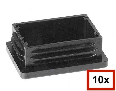 10 Piezas de tapas rectangulares de plástico para tuberías, tamaños elegible de 20x10mm a 180x60mm, tapón/ contera/ protector/ funda (medida exterior: 100x50mm, espesor de pared: 2-3mm, Negro)