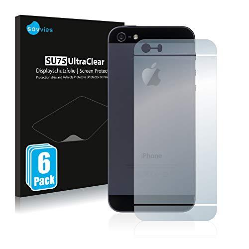 Savvies 6X Schutzfolie kompatibel mit Apple iPhone SE 2016 Rückseite (gesamte Fläche) Displayschutz-Folie Ultra-transparent