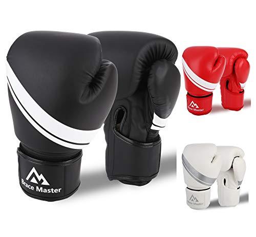 Brace Master Guantes Boxeo Cuero Unisex con Gel en Interior para Aumentar la Protección, Guantes de Entrenamiento Profesionales para Combates, Kickboxing, Boxeo (Negro, 8-OZ)